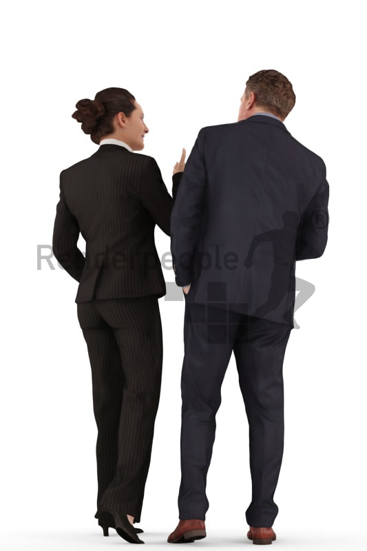 d people business, white 3d couple standing discussing