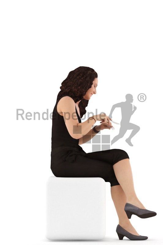 3d people casual. woman sitting and eating