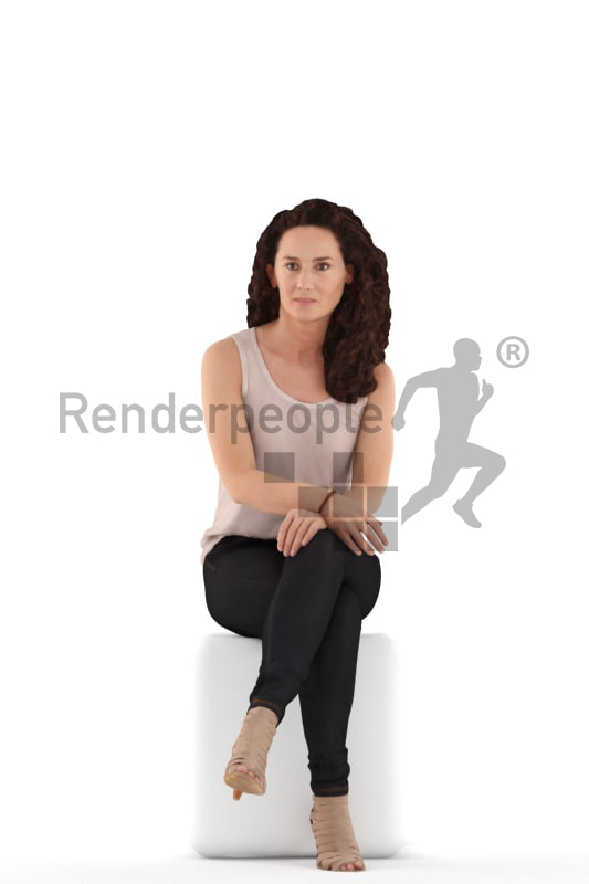 3d people casual. woman sitting and waiting