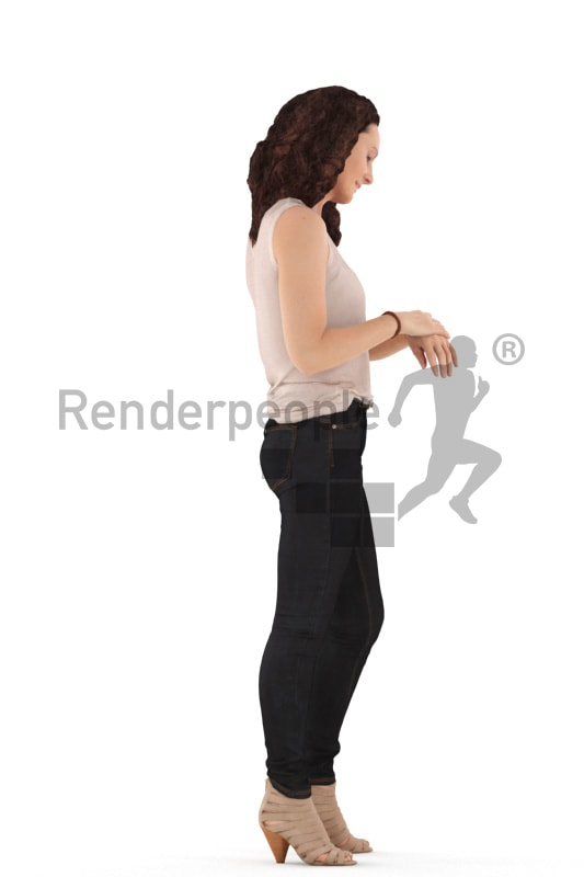 3d people casual. woman standing looking at her watch