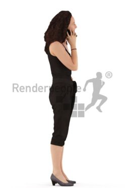 3d people casual. woman standing and and calling someone on her mobile phone