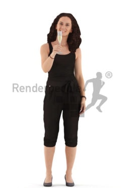 3d people casual. woman standing with a champagne glas