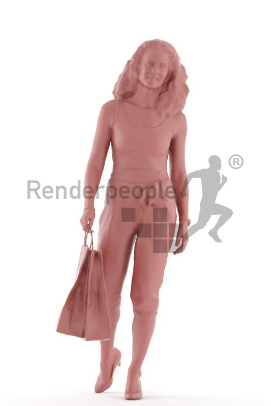 3d people casual. woman walking with shopping bags
