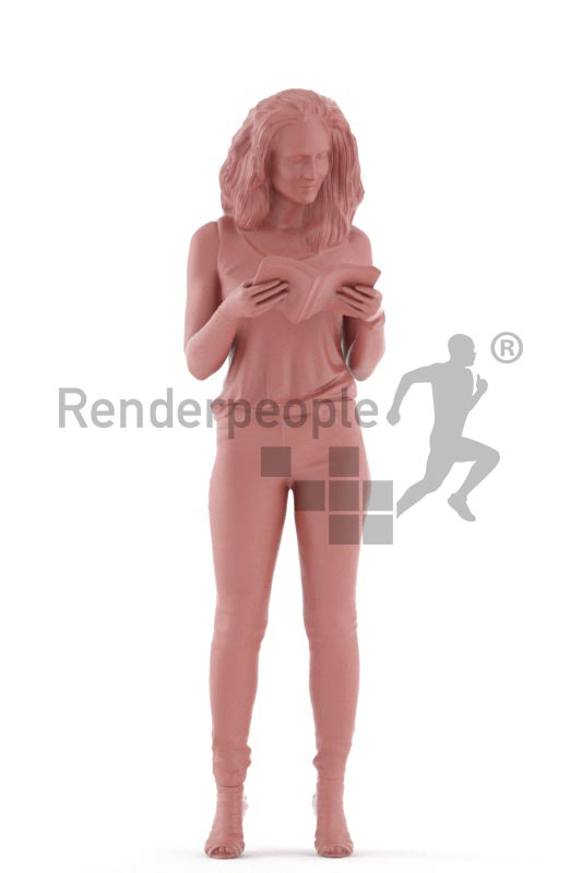 3d people casual. woman standing and reading a magazine