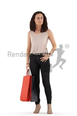 3d people casual. woman standing with shopping bags