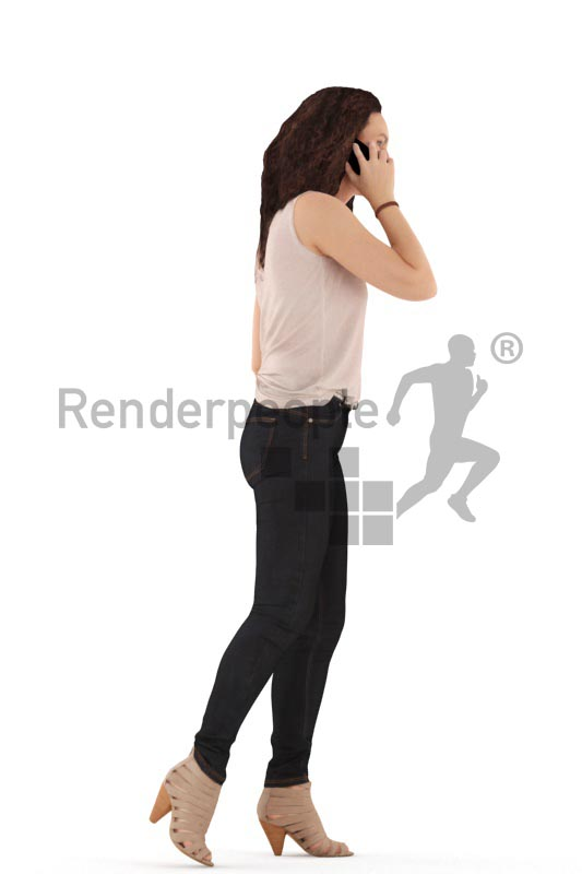 3d people casual. woman walking and calling somebody