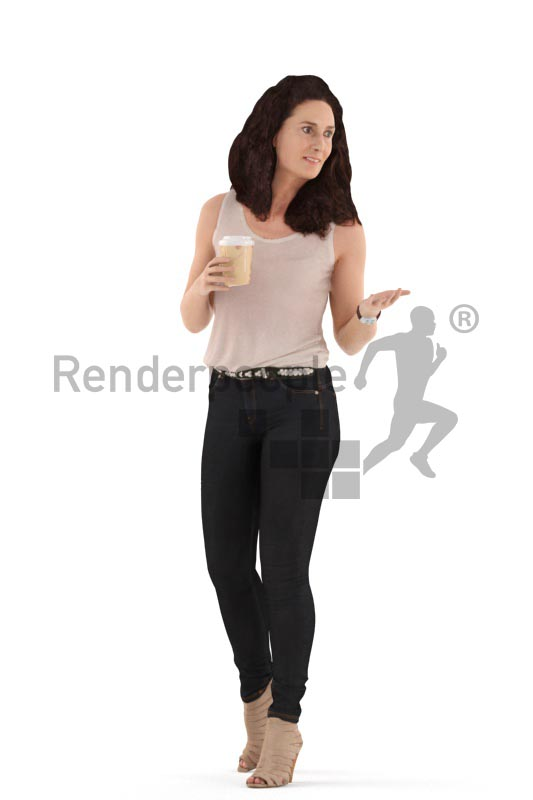 3d people casual. woman walking and drinking coffee