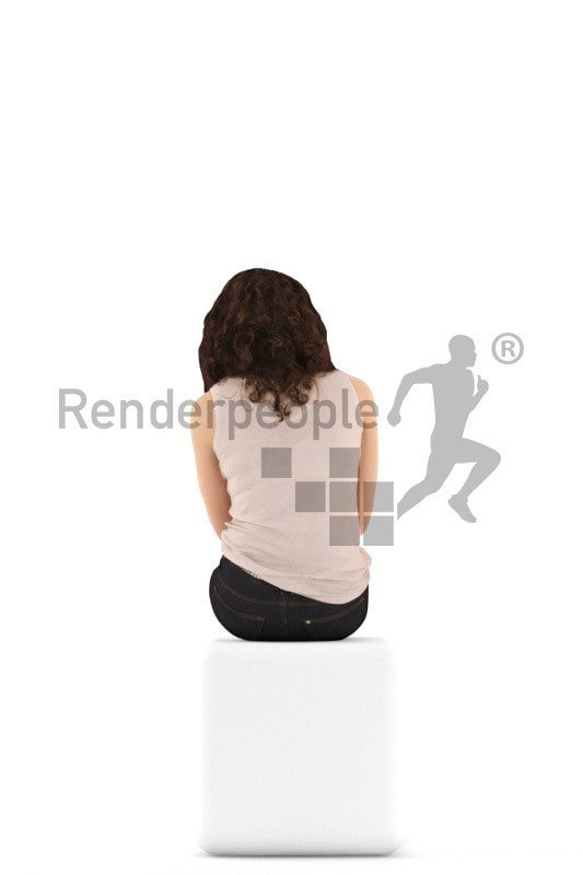3d people casual. woman sitting and drinking