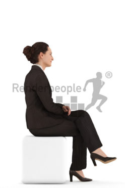 3d people business woman sitting and waiting