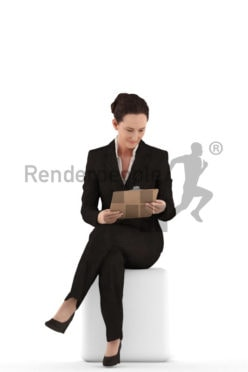3d people business woman sitting and looking at her clipboard
