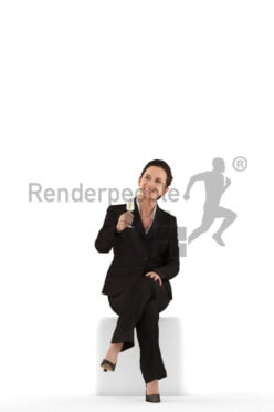 Posed 3D People model by Renderpeople – hispanic woman in business suit, sitting and cheering with champagne glass