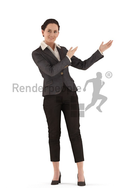 3d people business woman standing and presenting