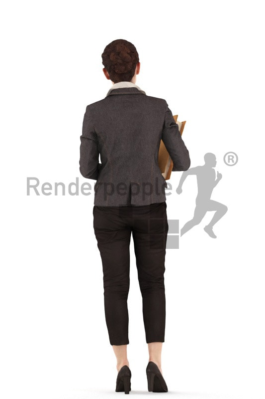 3d people business woman standing with a folder