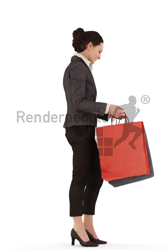 3d people business woman standing loking into her shopping bags