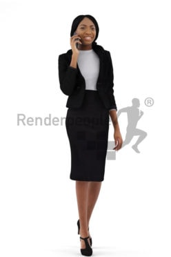 3d people business, black 3d woman walking and talking on the phone