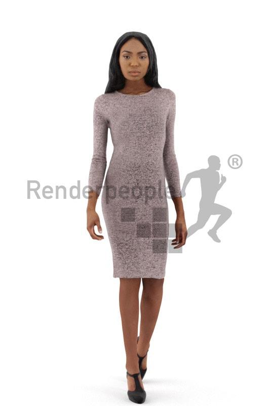 3d people event, black 3d woman walking