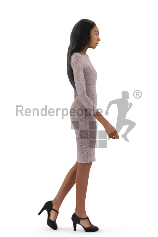 3d people event, black 3d woman walking