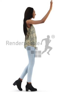 3d people casual, black 3d woman walking and waving