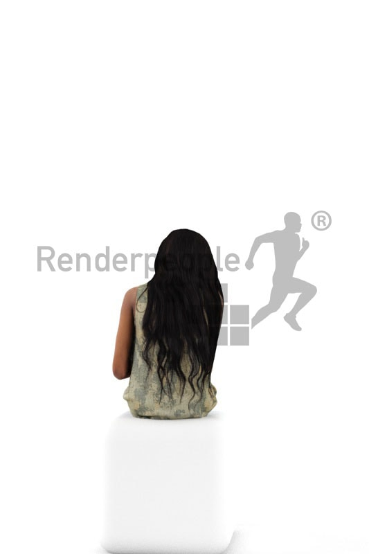 3d people casual, black 3d woman sitting and reading a book