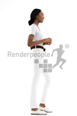 3d people service, black 3d woman standing