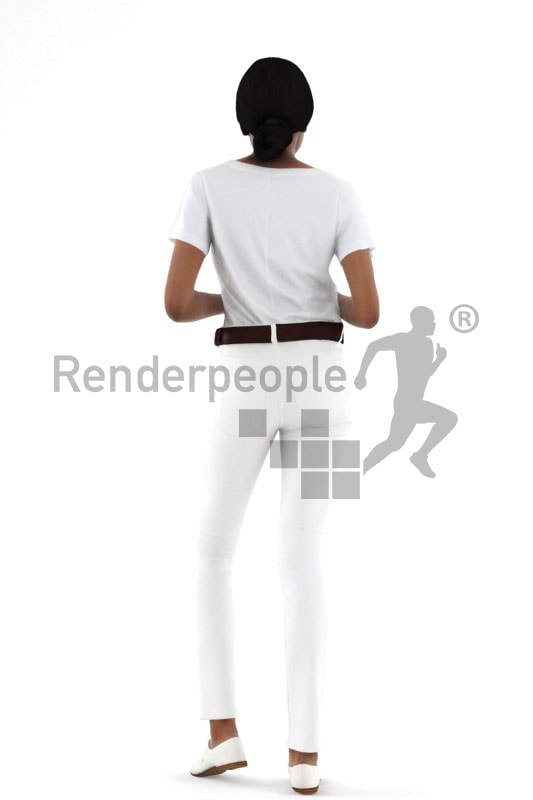 3d people service, black 3d woman standing