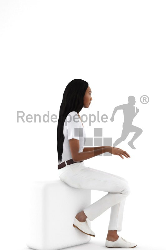 3d people service, black 3d woman sitting and typing