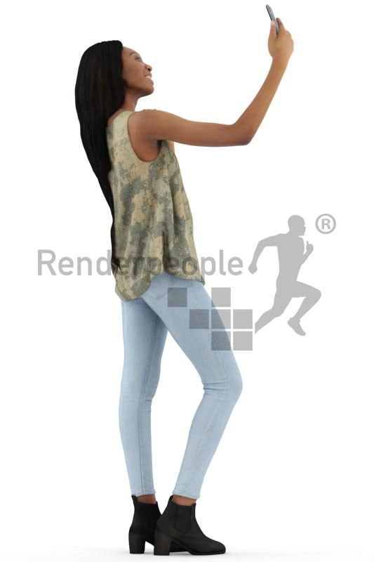 3d people casual, black 3d woman taking a selfie