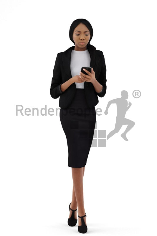 3d people business, black 3d woman walking and typing on her phone