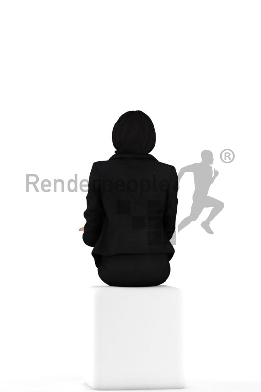 3d people business, black 3d woman sitting and talking