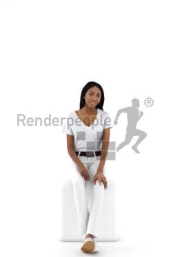 3d people service, black 3d woman sitting