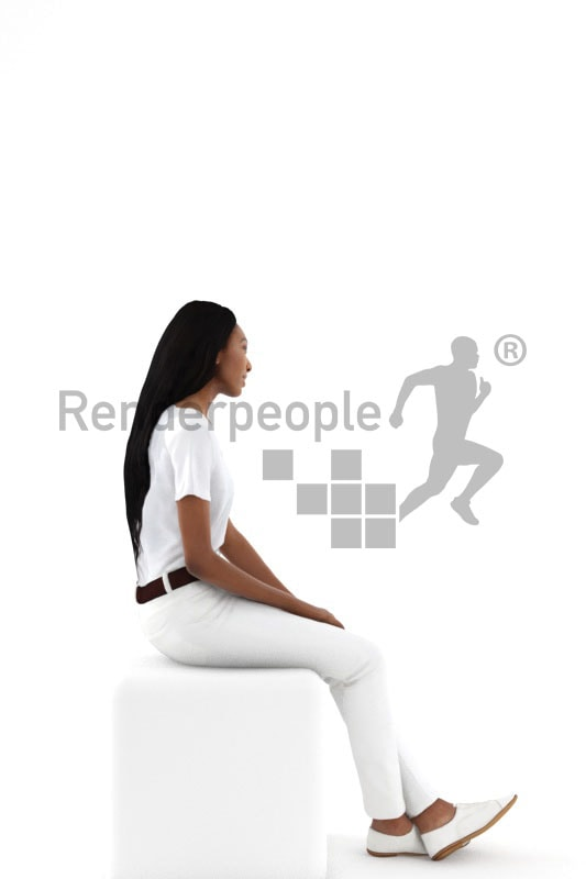 3d people service, black 3d woman sitting