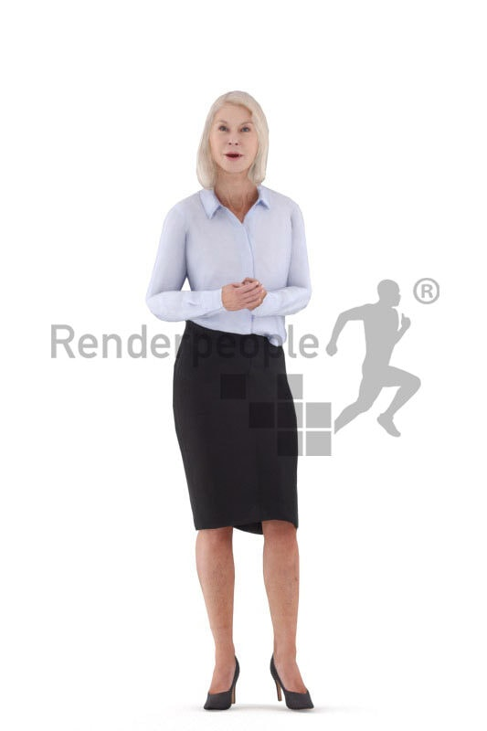 3D People model for animations – elderly european woman in business outfit, standing and talking