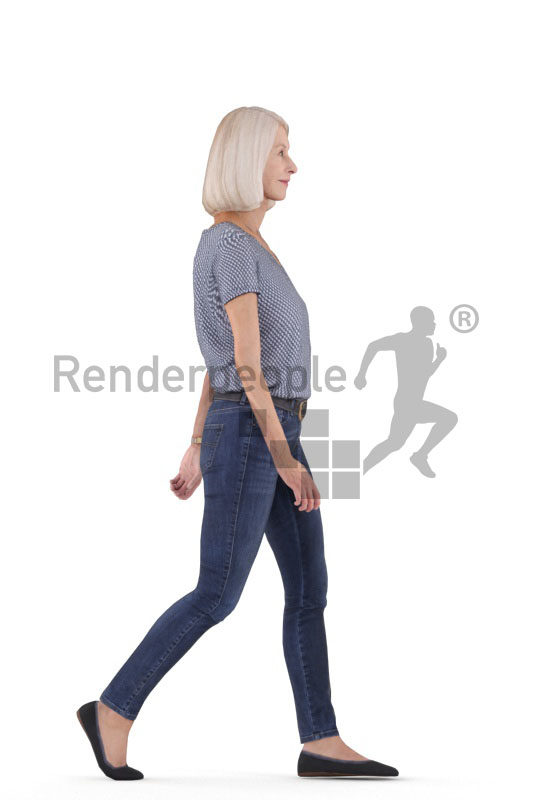Animated 3D People model for Unreal Engine and Unity – elderly white female in daily outfit, walking