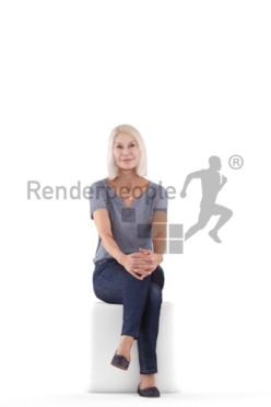 3D People model for 3ds Max and Blender – best ager european woman, sitting