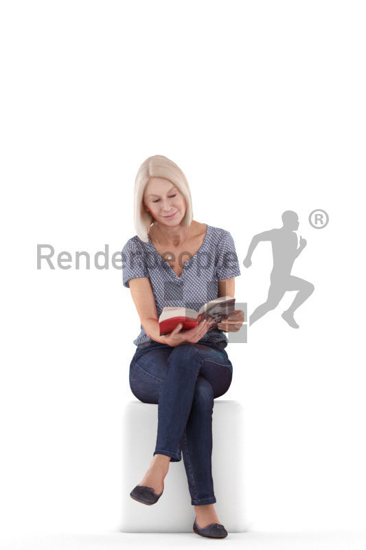3D People model for 3ds Max and Maya – elderly european woman, sitting and reading