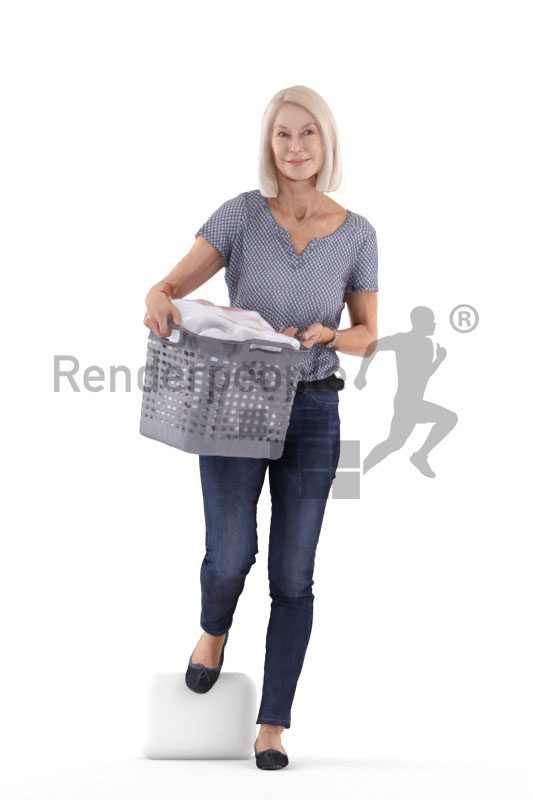 Scanned human 3D model by Renderpeople – old white woman, walking downstairs with a laundry basket