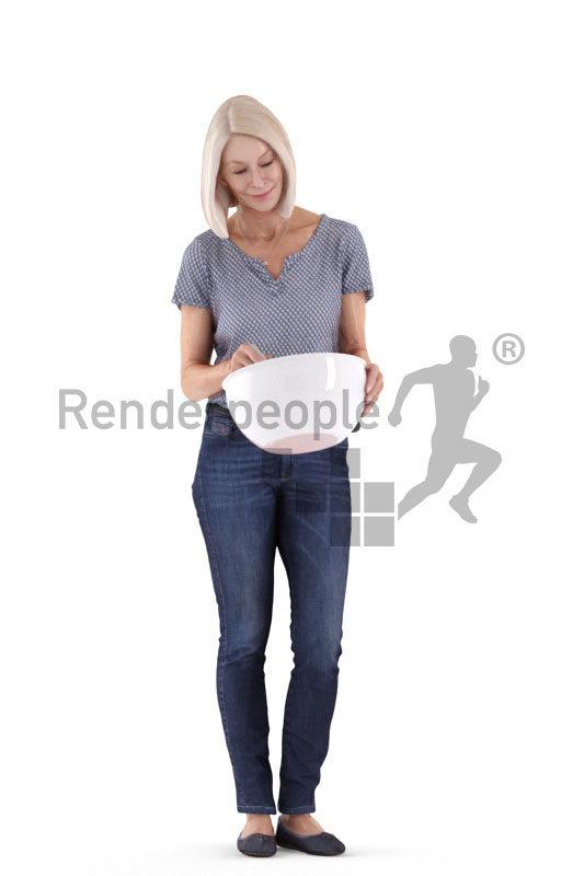 Posed 3D People model for renderings – elderly european woman, baking