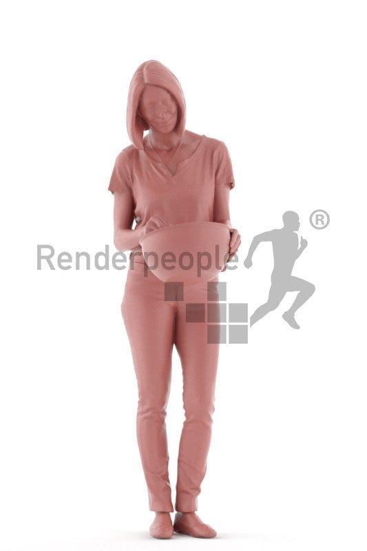 Posed 3D People model for renderings – elderly european woman