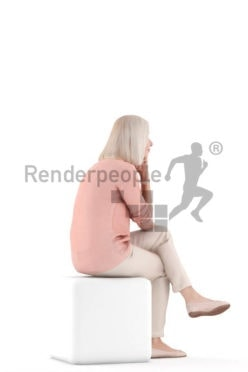 Scanned human 3D model by Renderpeople – sitting with casual clothes