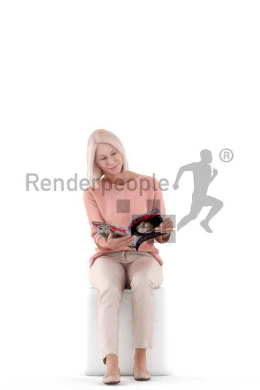 Scanned human 3D model by Renderpeople – sitting and reading magazines