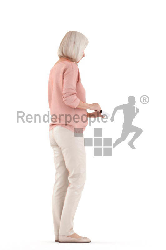 Posed 3D People model for renderings – elderly white woman, chopping something