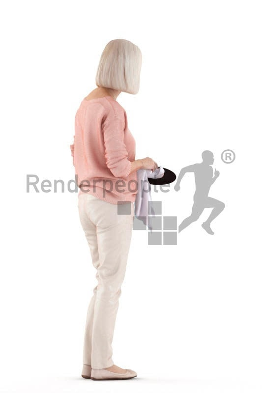 Posed 3D People model for renderings – elderly white woman, drying dishes