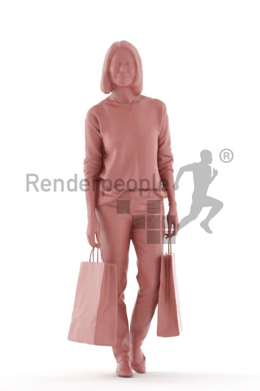 Scanned 3D People model for visualization – old white woman, walking with shopping bags