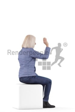 Posed 3D People model by Renderpeople – old white woman, sitting and greeting