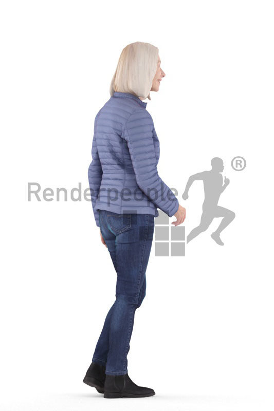 3D People model for 3ds Max and Blender – elderly white woman, outdoor, walking