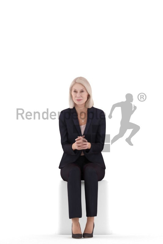 Posed 3D People model for renderings – Elderly white woman, sitting in business suit