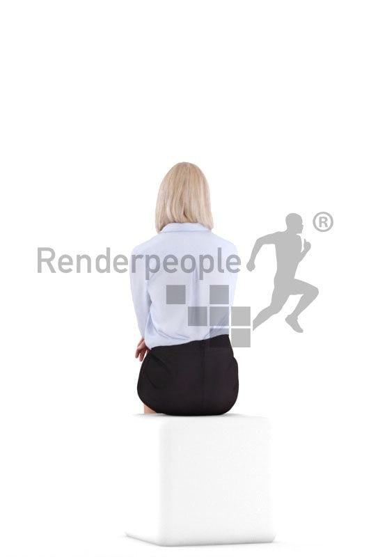 3D People model for 3ds Max and Sketch Up – elderly european woman sitting in business clothes and communicating