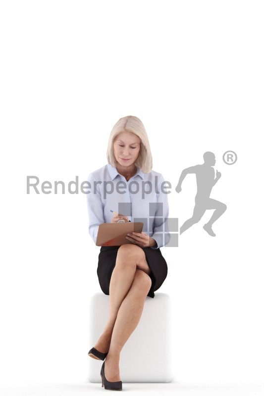 Posed 3D People model for renderings – old european woman, office look, sitting and writing