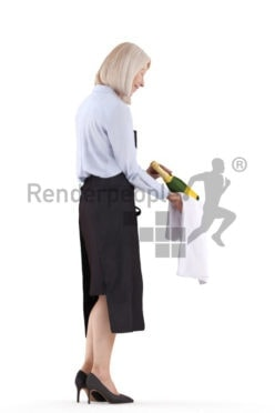 Posed 3D People model for renderings – Elderly european female, gastronomy, serving vino