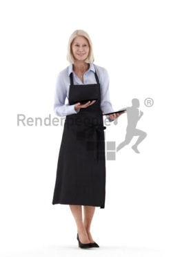 Posed 3D People model for renderings – Elderly european female, gastronomy, serving plates